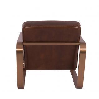 Design-Clubsessel Savona Vintage Cigar Edelstahl Kupfer-Finish Ledersessel Leder Sessel - Vorschau 4