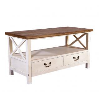 Couchtisch Loire Landhaus Stil Holz Vintage Look creme weiß - Vorschau 1