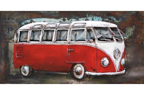 Handgefertigtes Metallbild Bus in rot ca. 140x70 cm Kunst Bild 3D-Optik Wandbild