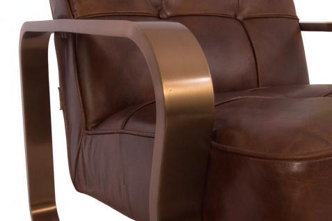 Design-Clubsessel Savona Vintage Cigar Edelstahl Kupfer-Finish Ledersessel Leder Sessel - Vorschau 5