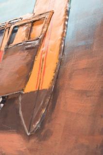 Handgefertigtes Metallbild Bus & Surf ca. 120x80 cm Kunst Bild 3D-Optik Wandbild - Vorschau 3