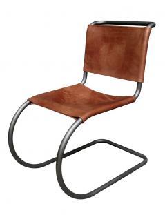 Freischwinger Sessel Enid Vintage Leder Stahlrohr