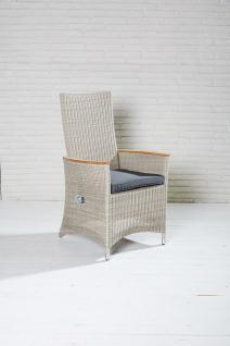 Positionsstuhl Chelsea White Cream Geflecht mit Fußhocker Gartensessel Rattansessel