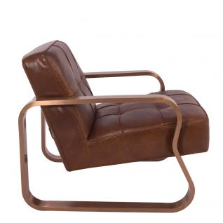 Design-Clubsessel Savona Vintage Cigar Edelstahl Kupfer-Finish Ledersessel Leder Sessel - Vorschau 3