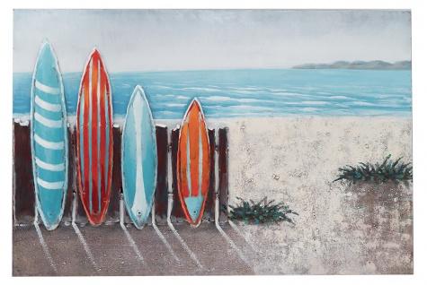Handgefertigtes Metallbild Surf ca. 120x80 cm Kunst Bild 3D-Optik Wandbild
