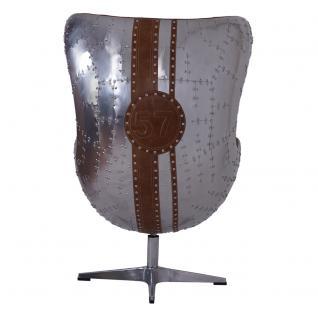 Design Schalensessel Saltum Whisky Brown Vintage Leder Aluminium - Vorschau 4