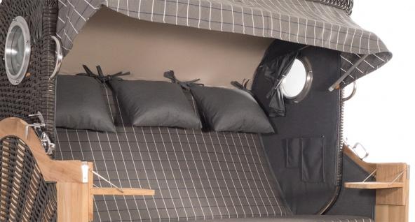 Strandkorb Kampen Spezial 3-Sitzer Mocca Set 11 inkl. Industrierollen und Hydraulikdämpfer - Vorschau 3
