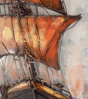 Handgefertigtes Metallbild Sailing ca. 120x60 cm Kunst Bild 3D-Optik Wandbild - Vorschau 2