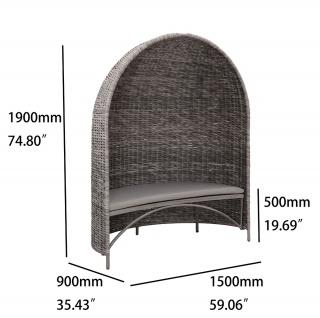 Strandmuschel Old Grey mit Sitzbank inkl. Sitzpolster in grau - Vorschau 4