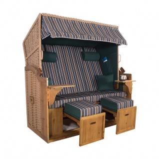 XXL 2, 5 Sitzer Natur Strandkorb Hörnum Grün-Braun-Blau Blockstreifen
