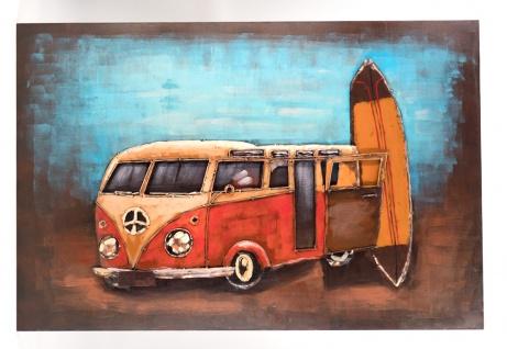 Handgefertigtes Metallbild Bus & Surf ca. 120x80 cm Kunst Bild 3D-Optik Wandbild