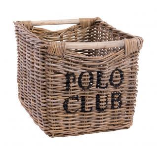 Aufbewahrungskorb Polo Club groß ca. 43 x 53 cm Korb Rattankorb Naturrattan