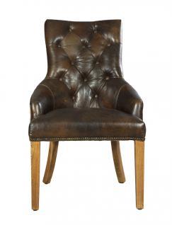 Stuhl Nelson Dark Esszimmerstuhl Vintage-Leder dunkelbraun Chesterfield-Look - Vorschau 2