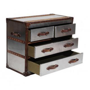 Kommode Michigan Aluminium Vintage Leder 4 Schubladen