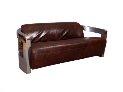Design-Clubsofa Mars 3 Sitzer Chrom und Vintage-Leder