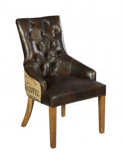 Stuhl Nelson Dark Esszimmerstuhl Vintage-Leder dunkelbraun Chesterfield-Look