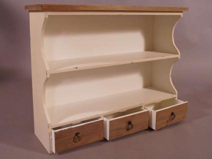 Wandregal Provence Landhaus Stil 3 Schubladen Holz Vintage Look creme weiß - Vorschau 4