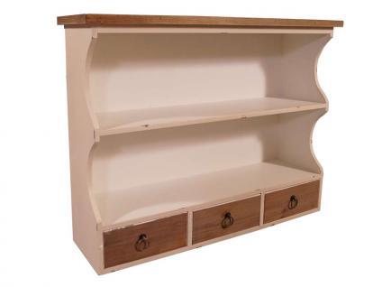 Wandregal Provence Landhaus Stil 3 Schubladen Holz Vintage Look creme weiß - Vorschau 1