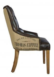 Stuhl Nelson Dark Esszimmerstuhl Vintage-Leder dunkelbraun Chesterfield-Look - Vorschau 3