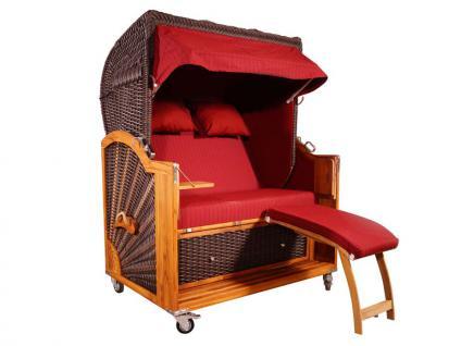 Strandkorb Kampen Mocca 2, 5-Sitzer Rot Nadelstreifen PE Vollieger - Vorschau 1