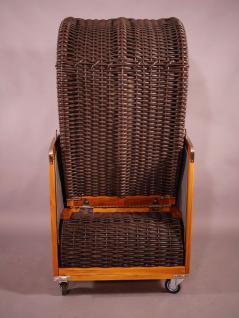 Strandkorb Kampen Spezial Mocca Single mit Bullaugen beige-grau gestreift, Seitenteile grau - Vorschau 4