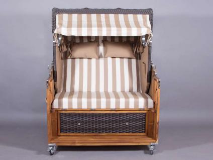 Strandkorb Kampen Spezial Mocca 2, 5-Sitzer mit Bullaugen beige-weiße Blockstreifen - Vorschau 2