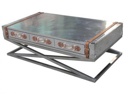 Couchtisch Spilsby aus Aluminium, Edelstahl und Leder
