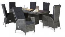 Polyrattan Tischgruppe Rocking Barcelona Grau Mix Gartenset Gartengarnitur Tisch 6 Stühle