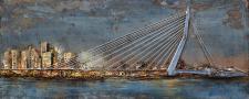 Handgefertigtes Metallbild Skyline ca. 150x60 cm Kunst Bild 3D-Optik Wandbild