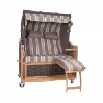 Strandkorb Kampen 2, 5-Sitzer in Mocca Duo T73 Fossil Calles Teakholz Polyrattan