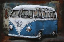 Handgefertigtes Metallbild Bus in Blau ca. 60x40 cm Kunst Bild 3D-Optik Wandbild