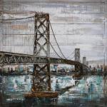 Handgefertigtes Metallbild Bridge ca. 100x100 cm Kunst Bild 3D-Optik Wandbild