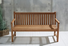 Teakholz Gartenbank Kampen ca. 150 cm Teak Möbel komplett montiert Bank Holzbank