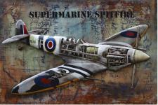 Handgefertigtes Metallbild Spitfire ca. 120x80 cm Kunst Bild 3D-Optik Wandbild