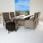 Polyrattan Tischgruppe Turin Natur Tisch 6 Stühle