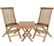 Teakholz 3er Set Riva Beistelltisch eckig und zwei Klappstühle Teak Möbel Gartenmöbel