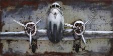 Handgefertigtes Metallbild Flugzeug ca. 120x60 cm Kunst Bild 3D-Optik Wandbild