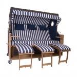 Familien Strandkorb Kampen 4-Sitzer Spezial in Mocca Duo T19 Azul Oscuro PolyrattanTeakholz Teak