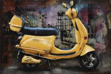 Handgefertigtes Metallbild Scooter ca. 60x40 cm Kunst Bild 3D-Optik Wandbild