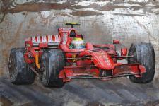 Handgefertigtes Metallbild Rennwagen ca. 120x80 cm Kunst Bild 3D-Optik Wandbild