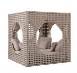 Liegeinsel Cube Diamond Daybed Cappuccino mit Vorhängen Lounge Gartenlounge Gartenmöbel Sunlounger Sonneninsel