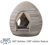 Liegeinsel Egg Daybed Harkers Island Wash Duo 24 Weaving mit Vorhängen - 360°-Drehtechnik