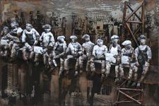 Handgefertigtes Metallbild Worker ca. 120x80 cm Kunst Bild 3D-Optik Wandbild