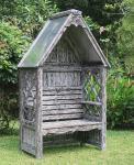 Laubenbank Philosophenbank Rosenbank Bali white wash verzinkt Mahagoni-Holz