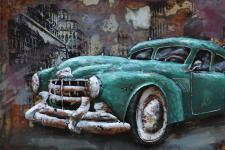 Handgefertigtes Metallbild Oldtimer Cyan ca. 120x80 cm Kunst Bild 3D-Optik Wandbild