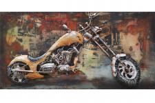 Handgefertigtes Metallbild Custom Bike ca. 140x70 cm Chopper Kunst Bild 3D-Optik Wandbild