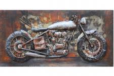 Handgefertigtes Metallbild Motorcycle ca. 140x70 cm Kunst Bild 3D-Optik Wandbild