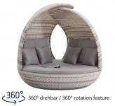 Liegeinsel Piccadilly Lounge White Wash Duo Weaving grau-weiß mit 360°-Drehtechnik
