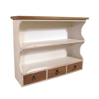 Wandregal Provence 3 Schubladen Holz Vintage Look creme weiß - Vorschau 5