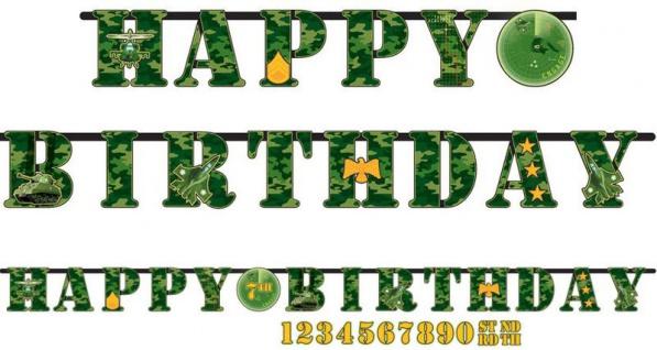 Geburtstags Girlande Camouflage grün